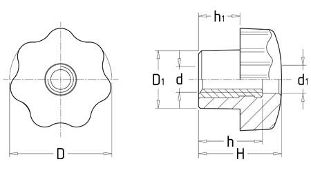 28 20  通孔星形把手旋钮优点:经典的外形,符合力学应用的结构